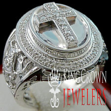 REAL GENUINE DIAMOND JESUS CROSS MENS PINKY RING BAND 10K WHITE GOLD FINISH NEW