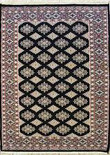 Rugstc 4x6 Bokhara Jaldar Black Area Rug, Hand-Knotted,Geometric with Silk/Wool