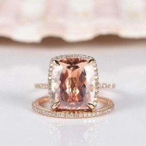 4 Ct Cushion Cut Morganite Bridal Set Halo Engagement Ring 14K Rose Gold Finish