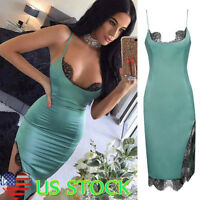 Women Bodycon Cami Dress Ladies Stitching Lace Club Party Cocktail Midi Dress US