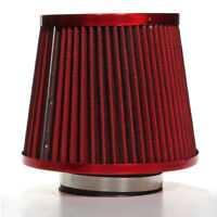 Red 76mm Universal Car Auto Air Intake Filter High Flow Round Cone Cold Cleaner