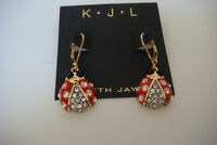 Kenneth Jay Lane Ladybug Drop Earrings New