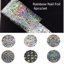 6 x SILVER HOLOGRAPHIC NAIL ART FOIL SET FLOWER STICKERS TRANSFER FOIL TIPS UK