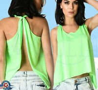 Women's Tank Top Yoga knot  Neon Green Knotted Sport Shirt Racer back Backless