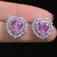 Elegant 925 Silver Stud Earrings Women Pink Sapphire Wedding Jewelry A Pair