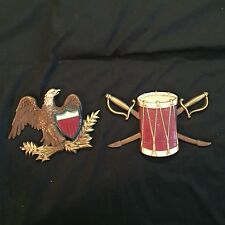 Vintage Sexton Painted Aluminum Patriotic Sconces Drum And Eagle Made In USA