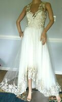 Marchesa Notte 3D Applique Embroidered Lace Ivory Wedding Long Maxi Dress Gown 2