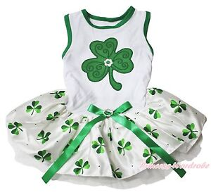 St Patrick White Top Kelly Green Clover Gauze Skirt Bow Pet Dog Puppy Cat Dress