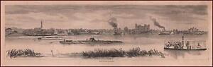 BATON ROUGE, LOUISIANA, CITY VIEW FROM RIVER, ANTIQUE ENGRAVING ORIGINAL 1868