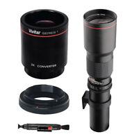 Vivitar 500mm f/8.0 Telephoto T-Mount Lens + T Mount For Canon & 2X Converter