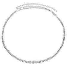 2 Row Diamante Diamond Belt Ladies Waist Chain Charm in Silver Fashion Womens