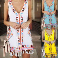Women Fashion Summer Bohemia Tassel Casual Print Sleeveless Beach Mini Dress ZC