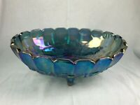 Indiana Harvest Grape Iridescent Blue Oval Footed Fruit Bowl Carnival Glass 12""