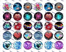 "30 Precut 1"" Hearts Bottle cap Images Set 1"