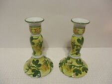 """PAIR OF FLORAL DESIGNED PORCELAIN HAND PAINTED CANDLE HOLDERS 7"""" TALL"""