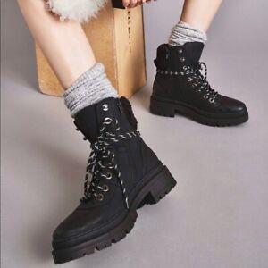 Steve Madden Keystone Lug Faux Fur Trim Work Boots Black Lace Up Size 7 NEW