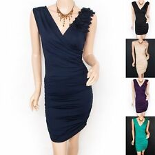 Women's Cotton Blend V Neck Wiggle, Pencil Knee Length Dresses