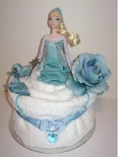 NEW Luxury Girl's Disney Frozen Towel Cake with Elsa Sparkle Doll #Christmas