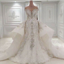 Luxury Mermaid White/Ivory Wedding Dress Bridal Gown Custom Made Plus Size 2-28