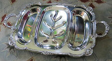 """Vtg English Silver Mfg Corp Silver Plate Footed Serving Meat Tray 23.25"""" x 14"""""""