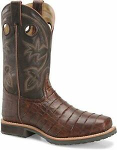 Double-H Boots - Mens - 12 Inch Wide Square ST Roper Color Chocolate Gator