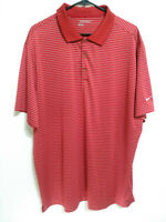 Nike Golf Tour Performance Dri-Fit Mens XXL Red Striped Short Sleeve Polo Shirt