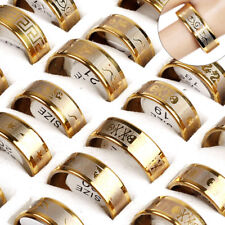 12pcs Wholesale Mixed Jewelry Lots Unisex Mens Gold Plated Stainless Steel Rings