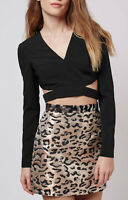 Womens Black Plunge V Neck Cut Out Side Crop * Long Sleeve Top 6-12