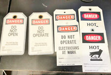 """VINTAGE LOT OF (6) """"DANGER"""" TAGS WITH HASPS - W.H. BRADY CO. / SETON NAME PLATE"""