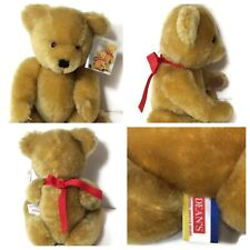 "Vintage Deans Mohair London Gold Teddy Bear Jointed England 9"" W/ Original Tags"
