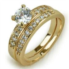 14K Solid Yellow Gold White Sapphire Ring Set Wedding Women Men's Jewelry Sz5-14