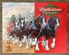 BUDWEISER Beer Clydesdale Horses Vintage Tin Metal Sign