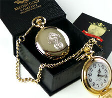 ROYAL REGIMENT OF FUSILIERS 24k Gold Clad POCKET WATCH & CHAIN RRF GIFT BOX Army