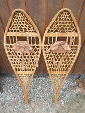 "Great Snowshoes 42"" Long x 14"" Wide Has Leather Bindings Snow Shoes Ready to Use"