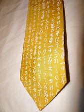ORIENTAL SUPERB ELEGANT HANDMADE/PAINTED YELLOW PATTERNED 100% SILK TIE
