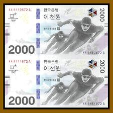 South Korea 2000 (2,000) Won (2 Pcs Uncut Sheet), 2018 P-New Winter Olympics Unc