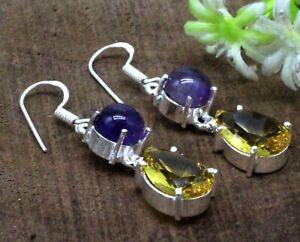 925 Sterling Silver Yellow Citrine &Amethyst Gemstone Jewelry Earrings Size-1.10