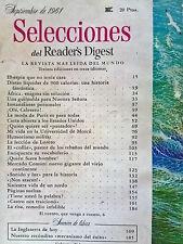 Revista Selecciones del Reader´s Digest vintage - sept 1961 España - publicidad