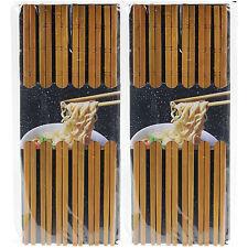 Pack of 2 12pc Natural Bamboo Wooden Oriental Chopsticks Set Reusable Cutlery