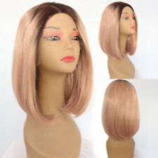 Peach pink Color Bob Hair Synthetic Lace Front Wig Soft Fiber Wigs For Women