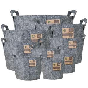 Fabric Plant Pot Round Grey x5 Root Boosting 3.8/8/12/16/22/30/39/56/78/95L LTR
