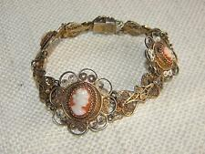 "Filigree bracelet SILVER 900 gold wash carved cameo ~ 7"" ~ beautiful Italian"