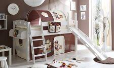 Lit mezzanine avec toboggan KENNY Pin teinté blanc tissus Pirate Marron-Beige
