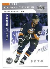 Trent Hunter 2002-03 Upper Deck Piece Of History Card, #140,# 22 / 1500, NYI