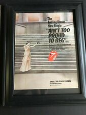 "Rolling Stones 1974 Original 11X14 ""Ain't Too Proud To Beg"" Ad In 15X19 Frame"