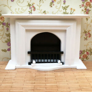 1/12 Dollhouse Furniture European Style Wooden Fireplace Living Room Decor