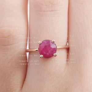 Genuine 0.35 Ct. Ruby Gemstone Ring Solid 14k Yellow Gold Handmade Fine Jewelry