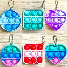Keyring Pop Popper Fidget Toy Push Poppet Bubble Marble Stress Anxiety Relief