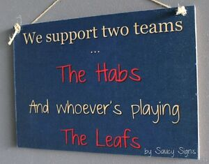 Montreal versus Toronto Hockey Sign - The Habs v Maple Leafs Team Rivalry