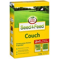 Lawn Builder SEED & FEED COUCH 1.4kg, Grass Seed+Starter Fertiliser *Aust Brand